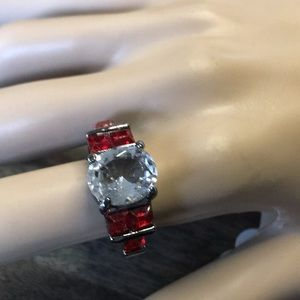 Clear and Red Stones Gunmetal Ring Size 8.5